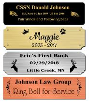 """1"""" H x 5.5"""" W, Solid Satin Brass Name Plate, Personalized Custom Laser Engraved Nameplate Label Art Tag for Frames Notched Square or Round Corners, Made in USA (5.5"""" Wide)"""