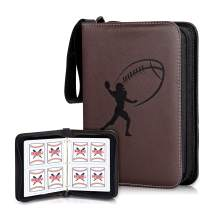 CLOVERCAT Double Sided 50 Pages 4 Pockets Card Binder for Sport Trading Cards, Display Case with Sleeves Card Holder Protectors Set for Sports Card Holds 400 Cards (Football Brown)