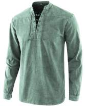 Moomphya Men's Retro Lace-up V-Neck Cotton Long Sleeve T-Shirts Tops