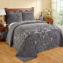 Better Trends Ashton Collection is Super Soft and Light Weight in Medallion Design 100 Pecent Cotton Tufted Unique Luxurious Machine Washable Tumble Dry, Twin Bedspread, Gray
