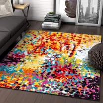 """Impasto Multi Geometric Red Yellow Blue Modern Abstract Painting Area Rug 5 x 7 (5'3"""" x 7'3"""") Easy Clean Stain Fade Resistant Shed Free Contemporary Brush Stroke Thick Soft Plush Living Dining Room"""
