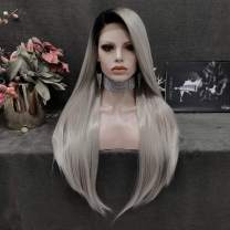 Imstyle Lace Front Wigs for Women Long Straight Dark Root Grey Wigs Glueless Costume Synthetic Wig with Natural Hairline