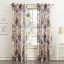 """No. 918 Andorra Watercolor Floral Crushed Texture Sheer Voile Curtain Panel, 51"""" x 63"""", Mulberry"""