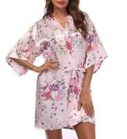 Women's Short Floral Kimono Robe Blossom Bathrobe for Wedding Party Bridal Dressing Gown Sleepwear