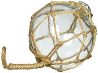 "Hampton Nautical  Clear Japanese Glass Ball Fishing Float with White Netting Decoration 6"""