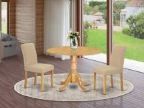 """East West Furniture DLAB3-OAK-04 3Pc Round 42"""" Dining Room Table With Two 9-Inch Drop Leaves And 2 Parson Chair With Oak Leg And Linen Fabric Light Fawn, 3"""