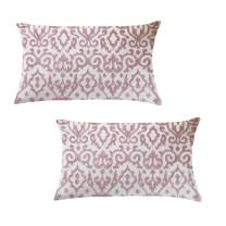 Natural Union Pink Decorative Cushion Covers 12x20 Embroidery Craft 100% Cotton Modern Lumber Pillow Cover with Invisible Zipper