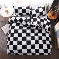 LAMEJOR Duvet Cover Set King Size Plaid/Grid Pattern Geometric Checkered Hotel Luxury Soft Bedding Set Comforter Cover (1 Duvet Cover+2 Pillowcases) Black/White