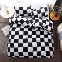 LAMEJOR Duvet Cover Set Queen Size Plaid/Grid Pattern Geometric Checkered Hotel Luxury Soft Bedding Set Comforter Cover (1 Duvet Cover+2 Pillowcases) Black/White