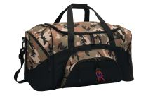 Personalized Tennis Gym Duffel Bag With Custom Text | Sports Bag with Customizable Embroidered Monogram Design (Military Camo/Black)