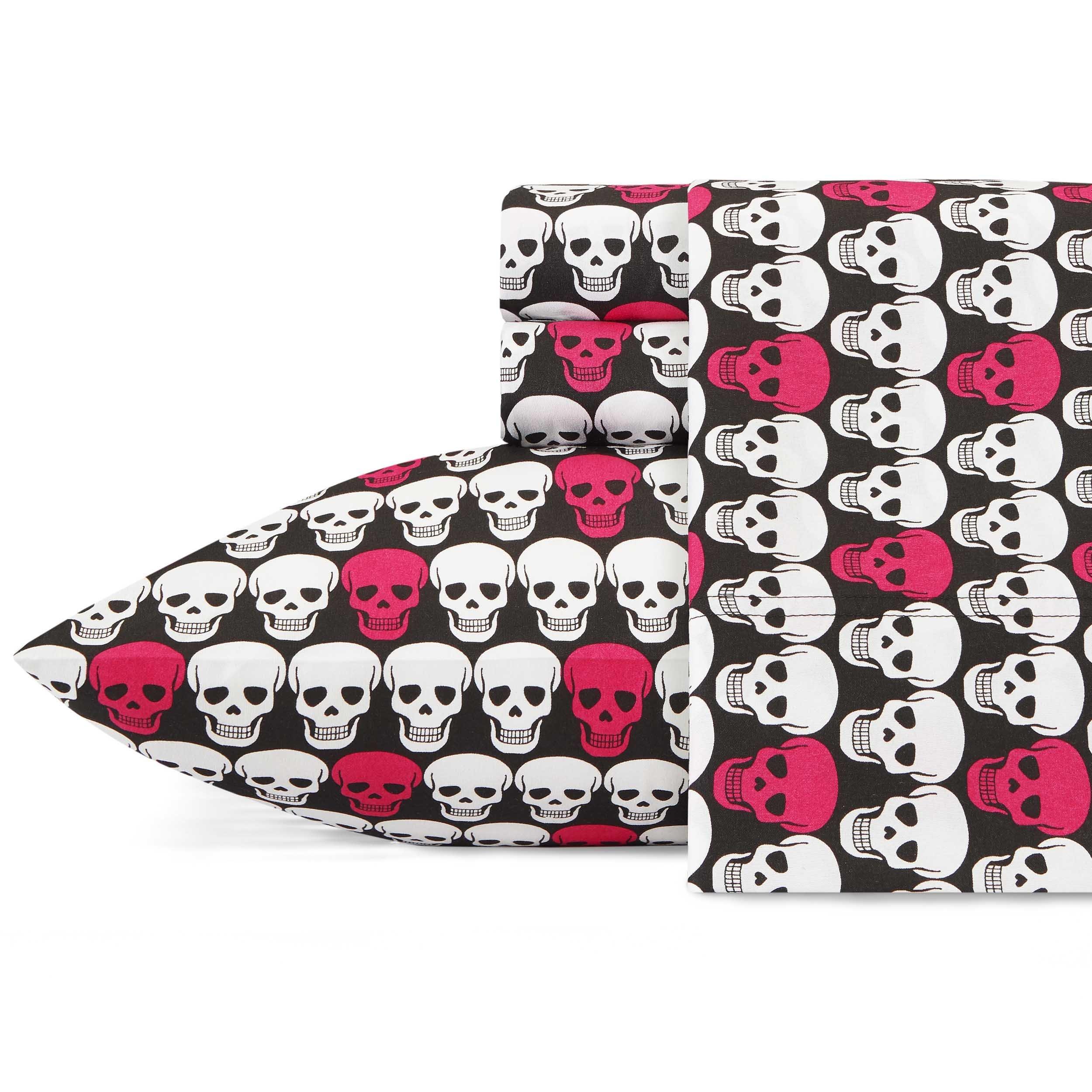 Betsey Johnson Skulls Sheet Set, Twin