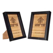 Black Wooden Picture Frames 5x7 - Set of 2-100% Eco Natural Solid Wood with Thick Borders for Wall Mounting and Tabletop Display, Real Glass