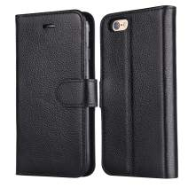 iPhone 6s Case, iPhone 6 case, Arae [Genuine Leather ] Top Layer Cowhide Flip Folio [Kickstand Feature] Wallet case with ID&Credit Card Pockets for iPhone 6 / 6s 4.7 (Real Leather Black)