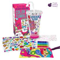 Purple Ladybug Create Your Own Personalized Tumbler for Girls with Color In Designs - Bright Markers Included! BPA Free Kids Tumbler with Lid & Straw - Cute Girl Gift Idea, Fun DIY Arts and Crafts Kit