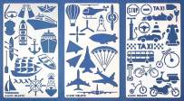 Aleks Melnyk #46 Metal Journal Stencils/Transport/Stainless Steel Stencils Kit 3 PCS/Templates Tool for Wood Burning, Pyrography and Engraving/Scrapbooking/Crafting/DIY