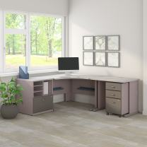 Bush Business Furniture Series A 48W Corner Desk with 36W Return and Storage in Pewter and White Spectrum