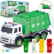 Garbage Truck Friction-Powered – 1:12 SCALE Large Size Truck Toy with Sounds, Lights, Rear Loader, 4 TRASH CANS for Learning Waste Management, Recycling Truck for Toddlers, Boys, Girls 3 4 5 Years Old