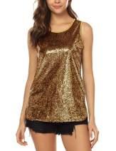 URRU Women's Shimmer Sequin Party Shirt Camisole Sleeveless Glitter Sparkle Tank Tops S-XXL