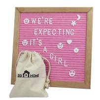 Pink Felt Letter Board with 678 Letters, Numbers, Emojis and Symbols,10X10 Inches Changeable Oak Frame Message Board with Mount Hanger, Stand and Canvas Bags by ZG-Home( )