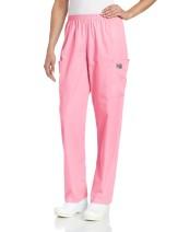 Scrub Zone Women's Durable 2-Pocket Elastic Waist Classic Fit Cargo Scrub Pant, Pink, X-Large Petite