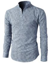 H2H Mens Casual Slim Fit Henley Shirts Linen Shirts Roll up Long Sleeve