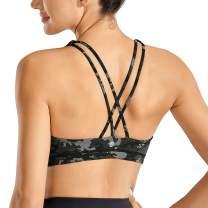 CRZ YOGA Women's Low Impact Strappy Sports Bra for Women Wirefree Padded Yoga Bra Tops