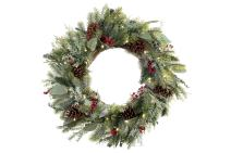 [30 Inch Artificial Christmas Wreath] - Winter Frost Collection - Natural Decoration - Pre Lit with 50 Warm Clear Colored LED Mini Lights - Includes Remote Controlled Battery Pack with Timer