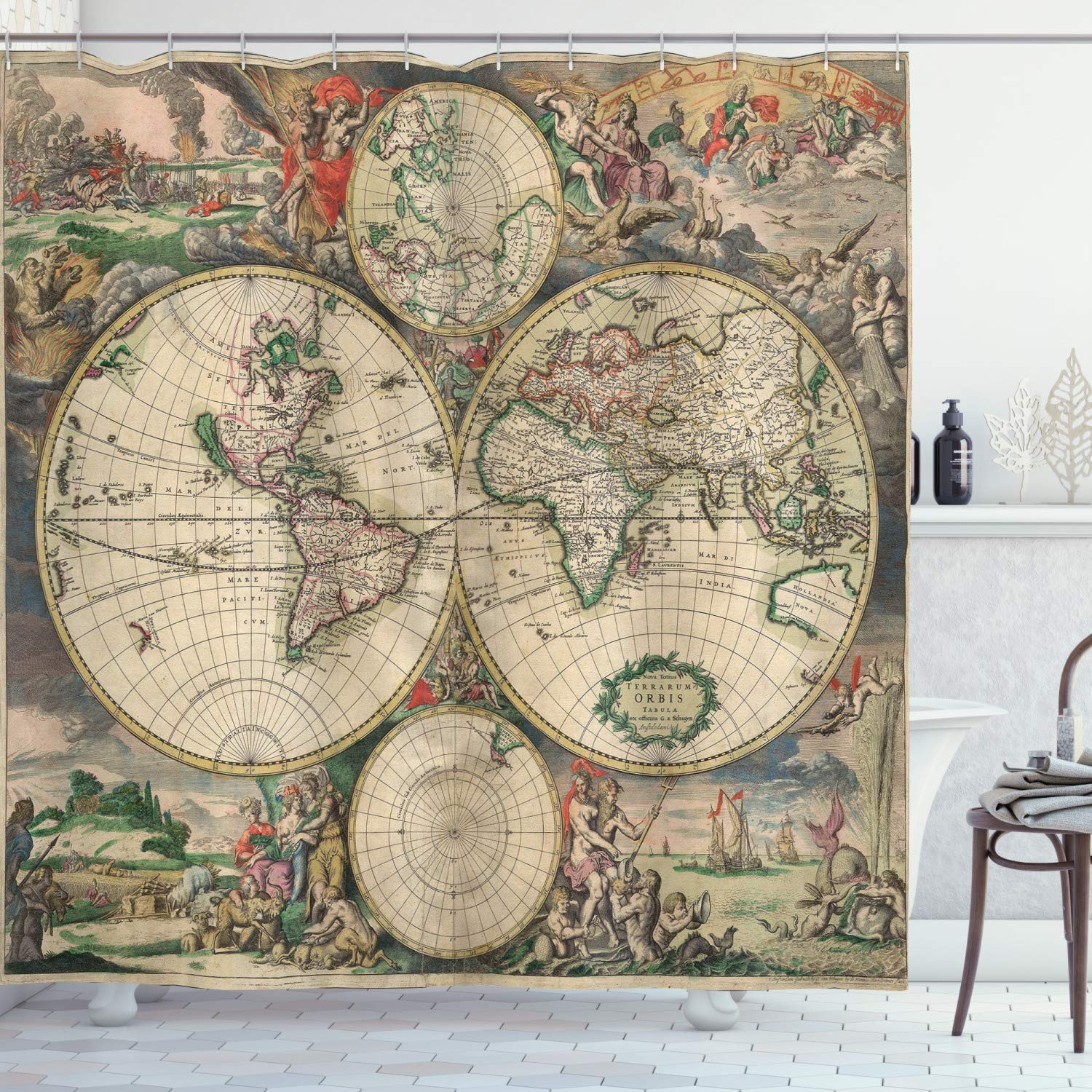 """Ambesonne World Map Shower Curtain, Antique Design with Renaissance Continents and Hemispheres Vintage Art, Cloth Fabric Bathroom Decor Set with Hooks, 75"""" Long, Beige Green"""
