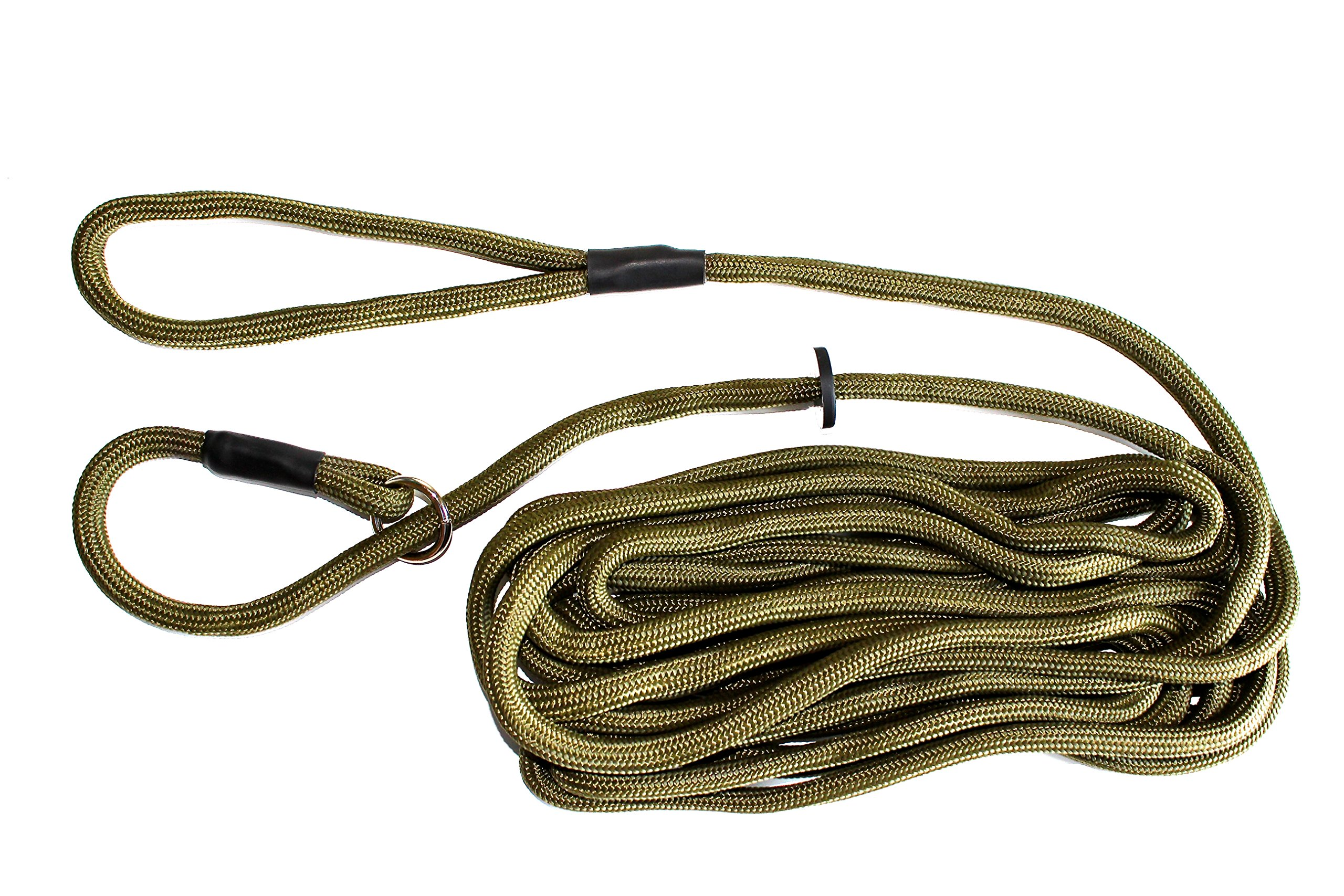 Dog & Field Training Lead - 6 Meter Long Training/Exercise Lead - Super Soft Braided Nylon - Train Or Exercise Your Dog Whilst Remaining in Full Control,Green,