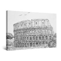 """Startonight Canvas Wall Art Abstract - Colosseum Rome Italy Black and White Sketch - Artwork Print for Bedroom 24"""" x 36"""""""