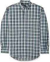 Arrow 1851 Men's Big and Tall Hamilton Poplins Long Sleeve Button Down Plaid Shirt