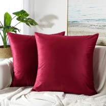 JUSPURBET Velvet Pillow Covers 26x26 Inches,Pack of 2 Throw Pillow Covers for Sofa Couch Bed,Decorative Super Soft Throw Pillows Cases,Burgundy