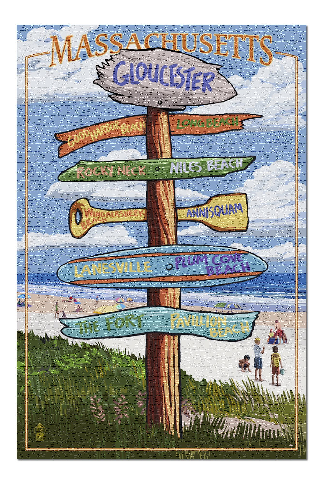 Gloucester, Massachusetts - Sign Destinations (Premium 1000 Piece Jigsaw Puzzle for Adults, 20x30, Made in USA!)