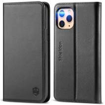 SHIELDON iPhone 11 Pro Case, Genuine Leather Auto Sleep Wake RFID Blocking Wallet Case, Viewing Stand and Card Slots, TPU Shockproof Protective Cover Compatible with iPhone 11 Pro (5.8-inch) - Black