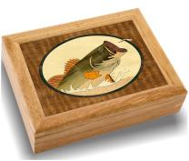 Wood Art Bass Box - Handmade in USA - Unmatched Quality - Unique, No Two are the Same - Original Work of Wood Art. A Bass Gift, Ring, Trinket or Wood Jewelry Box (#2105 Bass and Dragonfly 6x8x2)