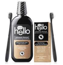 Hello Oral Care Activated Charcoal Fluoride Free & SLS Free Whitening Toothpaste Starter Kit With Extra Freshening Mouthwash & 2 Charcoal Bristle Bpa-Free Toothbrushes, Bundle