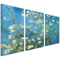 ArtWall 3-Piece Almond Blossom Gallery Wrapped Canvas Art by Vincent Van Gogh, 54 by 36-Inch