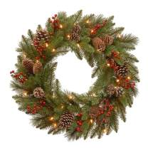 National Tree PEBB3-300-24WB1 Christmas Wreath, 2 ft, Green