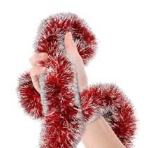 Treasures Gifted Valentines Day Red Frost Tip Tinsel Garland Christmas Tree Metallic Streamers Celebrate a Holiday Happy Birthday New Years Eve Wedding Party Indoor and Outdoor Decorations Supplies
