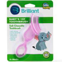 Brilliant Baby's 1st Toothbrush Teether - Premium Silicone First Toothbrush for Babies and Toddlers - Kids Love Them, Pink, 1 Count