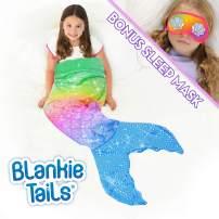 Blankie Tails | Mermaid Tail Blanket with Bonus Sleep Mask Gift Set - Double Sided Glitter Sparkle Cozy Mermaid Minky Fleece Blanket - Machine Washable Fun Wearable Blanket for Kids (Rainbow)