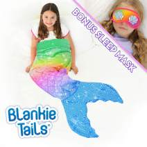 Blankie Tails | Mermaid Tail Blanket with Bonus Sleep Mask Gift Set - Double Sided Glitter Sparkle Cozy Mermaid Minky Fleece Blanket - Machine Washable Fun Wearable Blanket for Kids (Rainbow)
