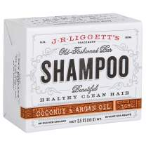 J·R·LIGGETT'S All-Natural Shampoo Bar, Virgin Coconut and Argan Oil - Support Strong and Healthy Hair - Nourish Follicles with Antioxidants and Vitamins-Detergent and Sulfate-Free, One 3.5 Ounce