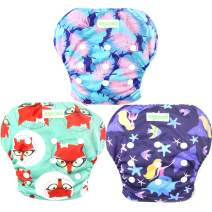 Wegreeco Baby & Toddler Snap One Size Adjustable Reusable Baby Swim Diaper (Mermaid,Fox,Feather,Small,3 Pack)