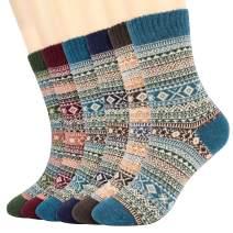 6 Pairs Womens Casual Socks, Vimpro Winter Soft Vintage Style Knitting Wool Warm Winter Crew Socks