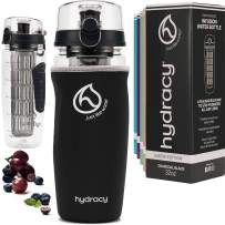 Hydracy Fruit Infuser Water Bottle - 32 oz Sports Bottle - Insulating Sleeve, Time Marker & Full Length Infusion Rod Combo Set + 27 Fruit Infused Water Recipes eBook Gift - Charcoal Black