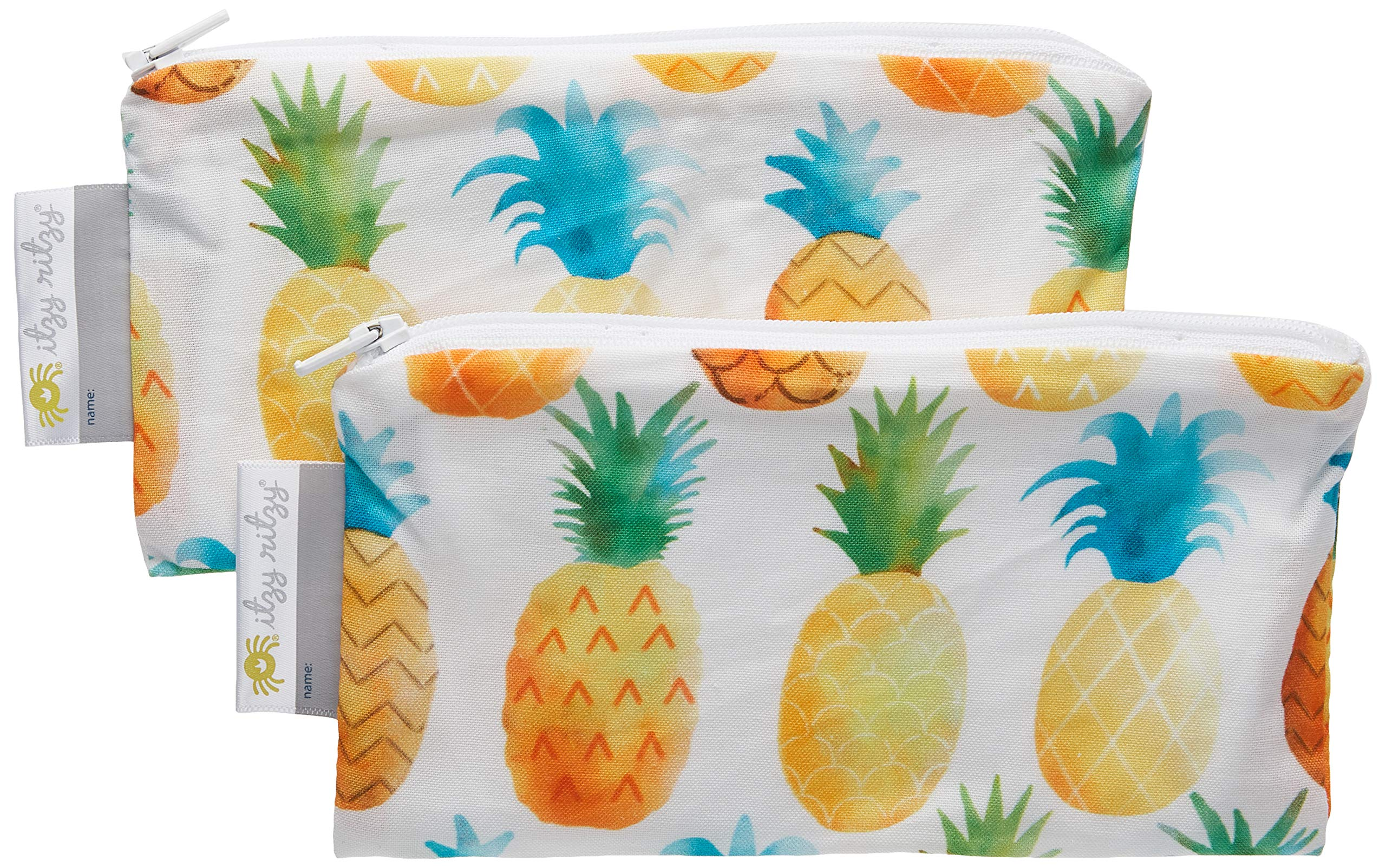 """Itzy Ritzy Reusable Mini Snack Bags – 2-Pack of 3.5"""" x 7"""" BPA-Free Snack Bags are Food Safe & Washable for Storing Snacks, Pacifiers and Makeup in a Diaper Bag, Purse or Travel Bag, Pineapple"""