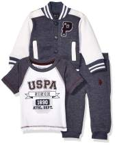 U.S. Polo Assn. Baby Boy's 3 Piece Fleece Jacket, Short Sleeve Tee and Pant Set Pants