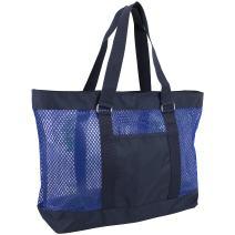 Eastsport Mesh Tote Beach Bag, Navy/Blue