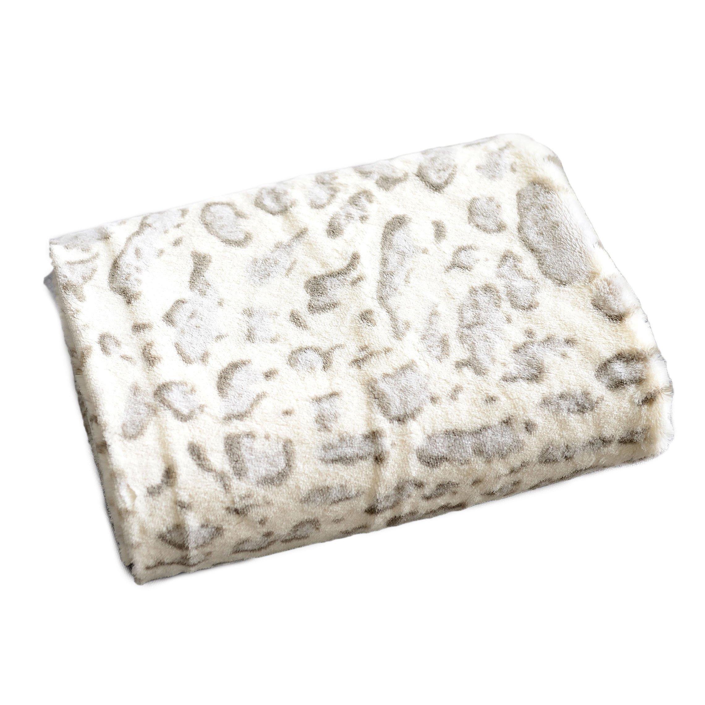 "Cheer Collection Animal Print Throw Blanket | Soft Velvety Faux Fur Microplush Reversible Cozy Warm Throw Blanket - 50"" x 60"" - Snow Leopard"